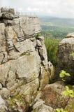 Szczeliniec Wielki in montagne di Gory Stolowe, Polonia Immagini Stock Libere da Diritti