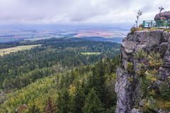 Stolowe Mountains in Poland. Szczeliniec Wielki in Table Mountains National Park, one of the biggest tourist attractions of the Polish Sudetes Stock Images