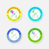 Szczepienie odznaka Ikony ampule i zastrzyk chronią twoje zdrowie Ochrania twój dziecka również zwrócić corel ilustracji wektora Fotografia Royalty Free