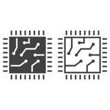 Szczerbi się kreskową ikonę, procesoru kontur i bryła wektoru znaka liniowych, ilustracji