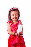 Szczęśliwa dzieciak dziewczyna pije mleko lub jogurt Zdjęcia Stock