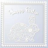 Szczęśliwa Esater papierowa karta z królikiem Fotografia Royalty Free