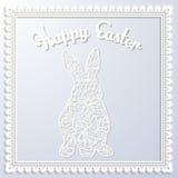 Szczęśliwa Esater papierowa karta z królikiem Obrazy Royalty Free