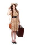 Szczęśliwa młoda kobieta przygotowywająca iść na wakacje Zdjęcia Royalty Free