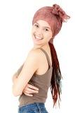 Szczęśliwa nastolatek dziewczyna z afrykańskimi pleceniami Obrazy Stock