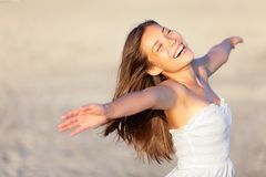 Szczęśliwa urlopowa kobieta Obrazy Royalty Free