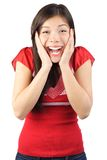 szczęśliwa zdziwiona kobieta Zdjęcia Stock