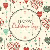 Szczęśliwe valentine dnia karty z sercami Zdjęcia Royalty Free