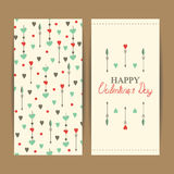 Szczęśliwe valentine dnia karty z sercami Obrazy Stock