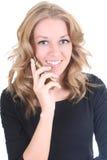 szczęśliwego telefonu obcojęzyczna kobieta Fotografia Royalty Free
