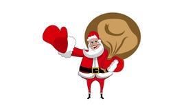 Szczęśliwej Święty Mikołaj mienia worka falowania animaci alfa kanał zdjęcie wideo
