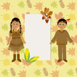 Szczęśliwi dzięki daje z czerwonymi indyjskimi kostiumowymi dziećmi wektorowymi Fotografia Stock