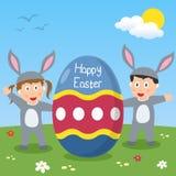 Szczęśliwi Wielkanocnego królika dzieciaki Zdjęcie Royalty Free
