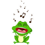 Szczęśliwy żaby kreskówki śpiew Zdjęcie Royalty Free
