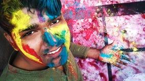Szczęśliwy colourful holi świętowanie Fotografia Stock
