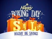 Szczęśliwy drugi dzień świąt bożego narodzenia sprzedaży projekt z prezentów pudełkami na śniegu Obrazy Royalty Free