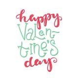 szczęśliwy dzień valentine s Jaskrawi barwiący romantyczni listy literowanie wycena Fotografia Stock