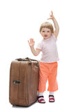 Szczęśliwy dziecko z dużym bagażnikiem Zdjęcie Stock