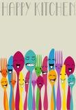 Szczęśliwy koloru cutlery Obrazy Royalty Free