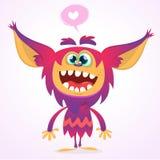 Szczęśliwy kreskówki gremlin potwór w miłości Halloweenowa wektorowa dziwożona lub błyszczka z różowym futerkiem i dużymi ucho od Zdjęcia Stock