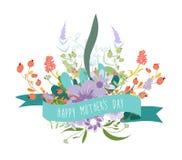Szczęśliwy Mothers dnia kwiecisty kartka z pozdrowieniami Zdjęcia Stock