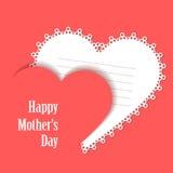 Szczęśliwy Mothers dzień Karta z koronkowym sercem Obrazy Stock
