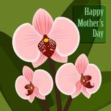 Szczęśliwy Mothers dzień Karta z orchideą Zdjęcia Royalty Free