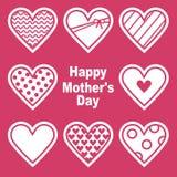 Szczęśliwy Mothers dzień Karta z Sercami Obraz Stock
