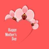 Szczęśliwy Mothers dzień Karta z sercem i orchideą Zdjęcia Royalty Free
