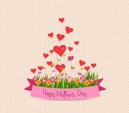 Szczęśliwy Mothers dzień z etykietką i serca kartka z pozdrowieniami Zdjęcia Stock