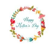 Szczęśliwy Mothers dzień z wianku kwiatu kartka z pozdrowieniami Zdjęcie Royalty Free