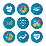 Szczęśliwy Mothers& x27; s dnia ikony Mamy miłości symbole Obrazy Royalty Free