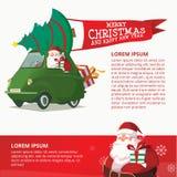 Szczęśliwy nowy rok zieleni samochód z Święty Mikołaj projekta szablonem Fotografia Royalty Free