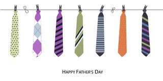 Szczęśliwy ojca dnia kartka z pozdrowieniami z obwieszenie krawata wektorem Obraz Stock