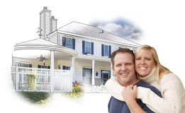 Szczęśliwy pary obejmowanie Przed Domowym rysunkiem i fotografią na bielu Zdjęcia Royalty Free