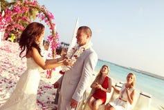 Szczęśliwy państwo młodzi na ich dniu ślubu Zdjęcia Stock