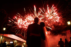 Szczęśliwy przytulenia państwo młodzi ogląda pięknego kolorowego firewo Zdjęcia Royalty Free