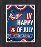 Szczęśliwy 4th LIPA dnia niepodległości kartka z pozdrowieniami Zdjęcia Stock