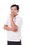 Szczęśliwy, uśmiechnięty w średnim wieku mężczyzna główkowanie, Obraz Royalty Free