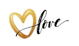 Szczęśliwy walentynka dnia ręki literowanie z złotą błyskotliwością, również zwrócić corel ilustracji wektora Zdjęcie Royalty Free