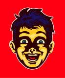 Szczęśliwy zadziwiający dzieciak twarzy portret, dziecko zaskakujący magią Obraz Royalty Free