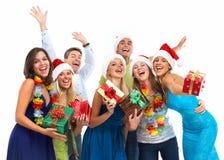 Szczęśliwych bożych narodzeń grupy ludzie. Fotografia Royalty Free