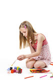 szczotkarska dziewczyna Zdjęcie Stock
