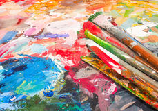 Szczotkarska i jaskrawa farby paleta dla tła Zdjęcie Royalty Free