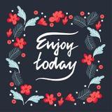 Szczotkarska literowanie wycena cieszy się dzisiaj przy kwiecistym tłem Zdjęcie Royalty Free