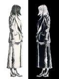szczotkarska rysunku atramentu kobieta Zdjęcie Royalty Free