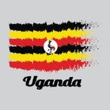 Szczotkarska stylowa kolor flaga Uganda, czarny kolor żółty i czerwień; biały dysk przedstawia krajowego symbol, popielaty korono ilustracji