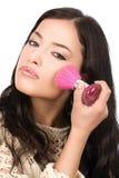 szczotkarskiego dziewczyny makeup proszka ładni potomstwa fotografia stock