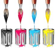 szczotkarskiej koloru cztery farby proces cyny Obraz Royalty Free