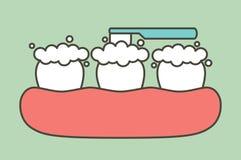 Szczotkujący ząb - stomatologicznej kreskówki mieszkania wektorowy styl Zdjęcie Royalty Free